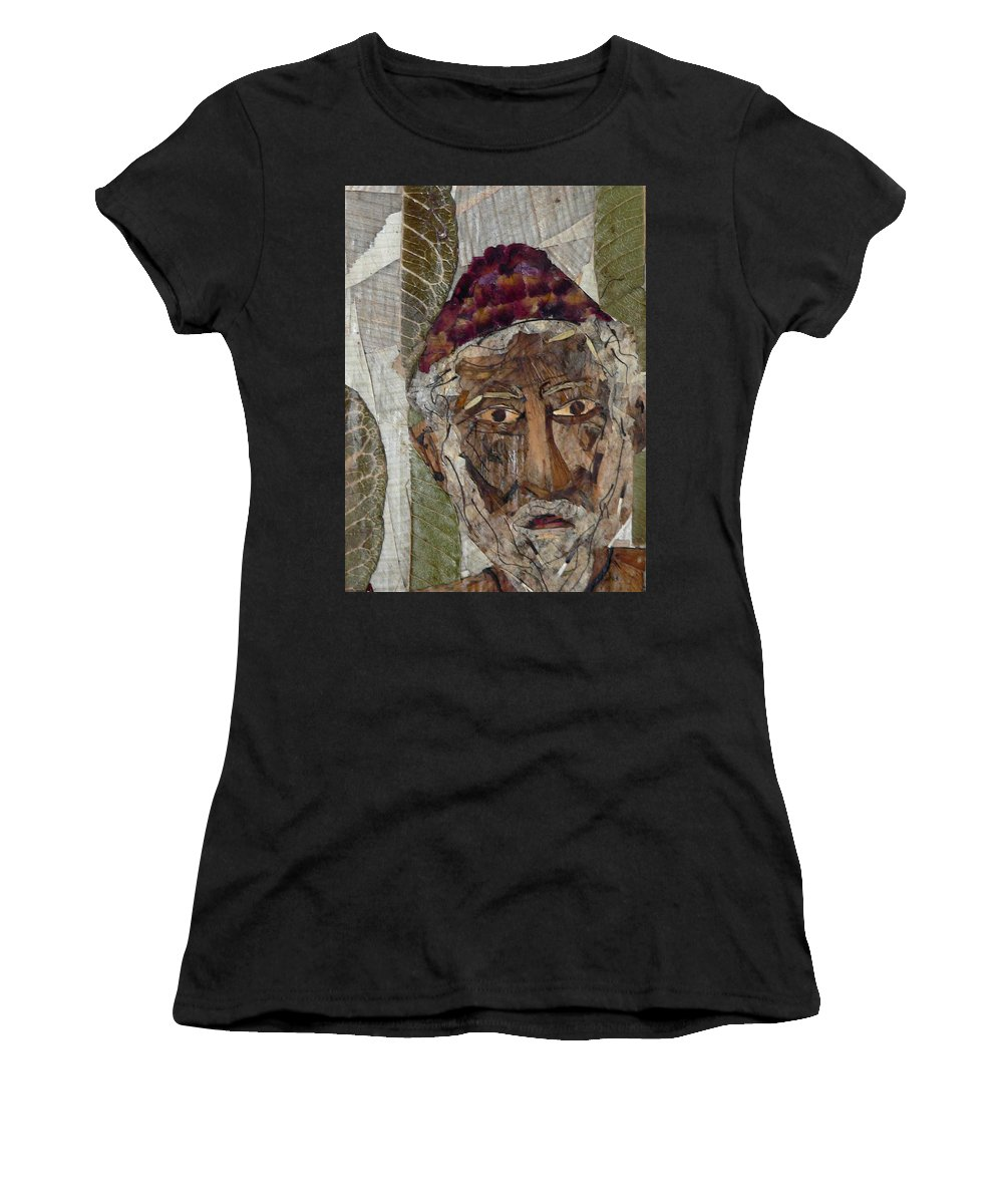 Portrait.holy Person Portrait Women's T-Shirt (Athletic Fit) featuring the mixed media Fakeer by basant Soni