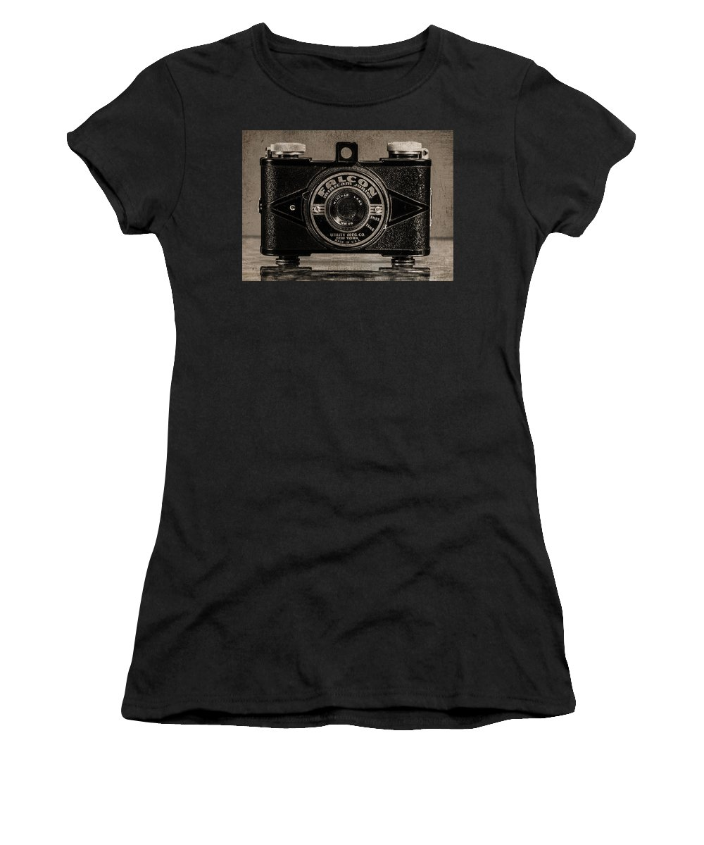 Vintage Camera Women's T-Shirt featuring the photograph Falcon Minicam Junior by Jon Woodhams