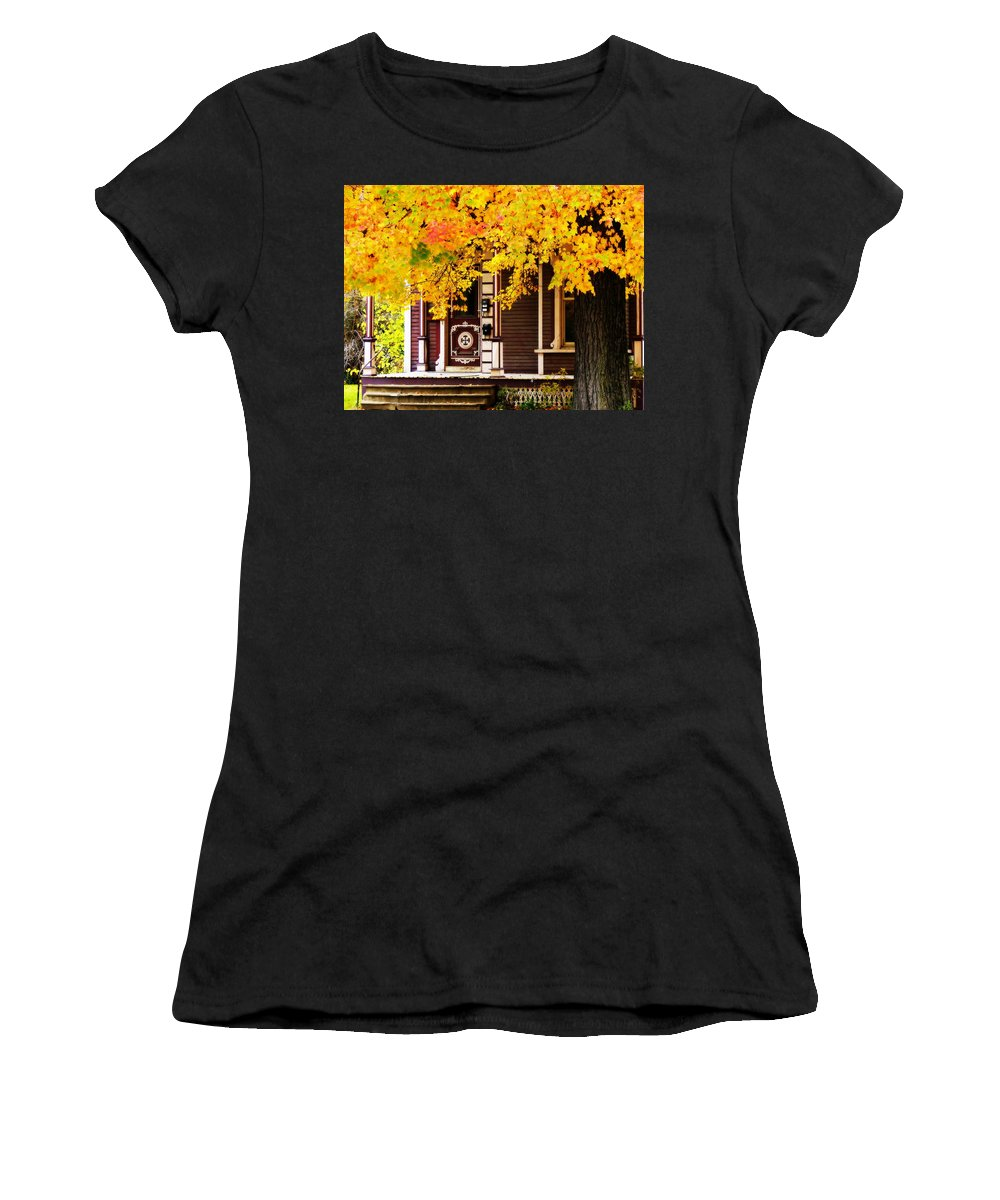 Nostalgia Women's T-Shirt (Athletic Fit) featuring the photograph Fall Canopy Over Victorian Porch by Rodney Lee Williams