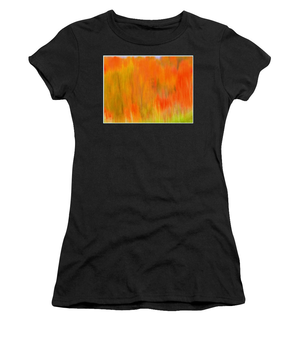 Fall Foliage Women's T-Shirt (Athletic Fit) featuring the photograph Fall Foliage Abstract by Lingfai Leung