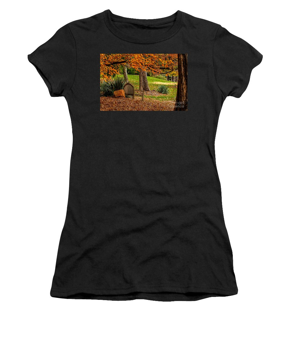 Reynolda Gardens Fall Colors Foliage Leaves Winston-salem North Carolina Nc Wake Forest University Wfu Univ Bench Women's T-Shirt (Athletic Fit) featuring the photograph Fall In The Gardens by Karl Greeson