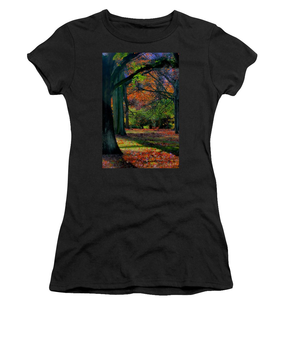 Autumn Women's T-Shirt featuring the painting Fall Is Coming by Bruce Nutting