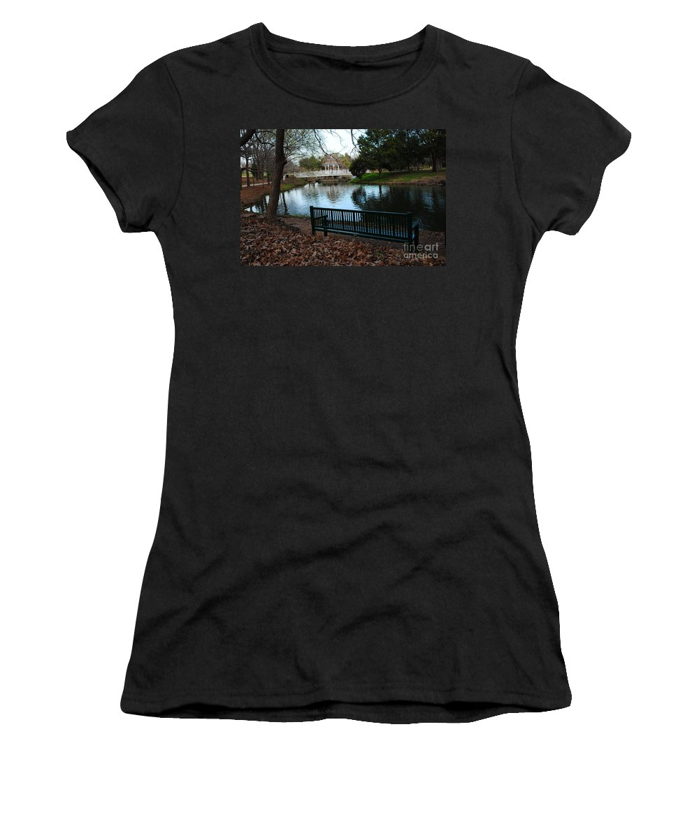 Duck Pond Women's T-Shirt featuring the photograph Fall Leaves Carpet And Metal Sofa by Pamela Smale Williams