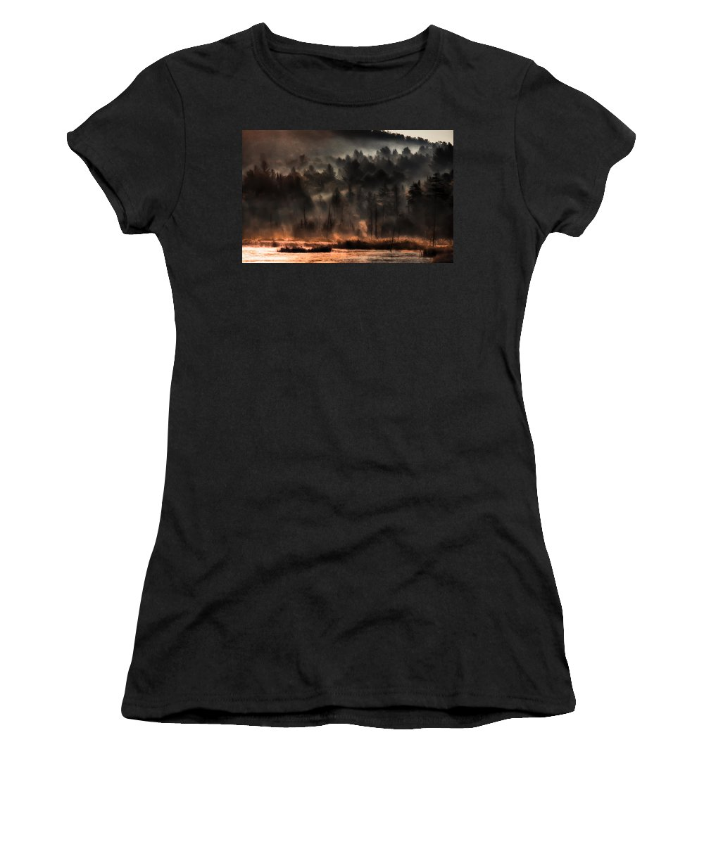 Fall Foliage Women's T-Shirt featuring the photograph Fall Morning Fog by Jeff Folger