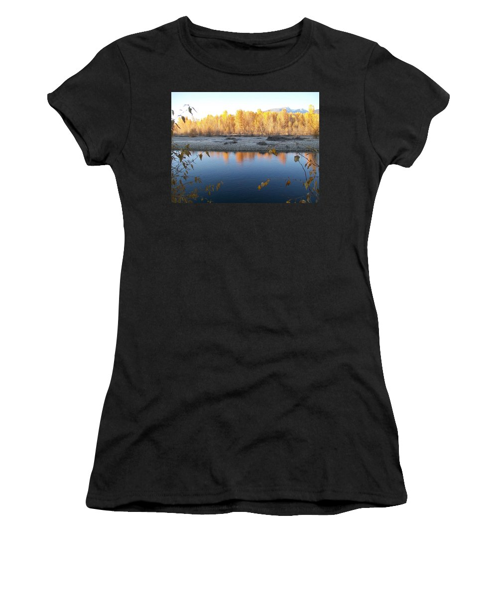 Blue Women's T-Shirt (Athletic Fit) featuring the photograph Fall Reflection 2 by Jewel Hengen