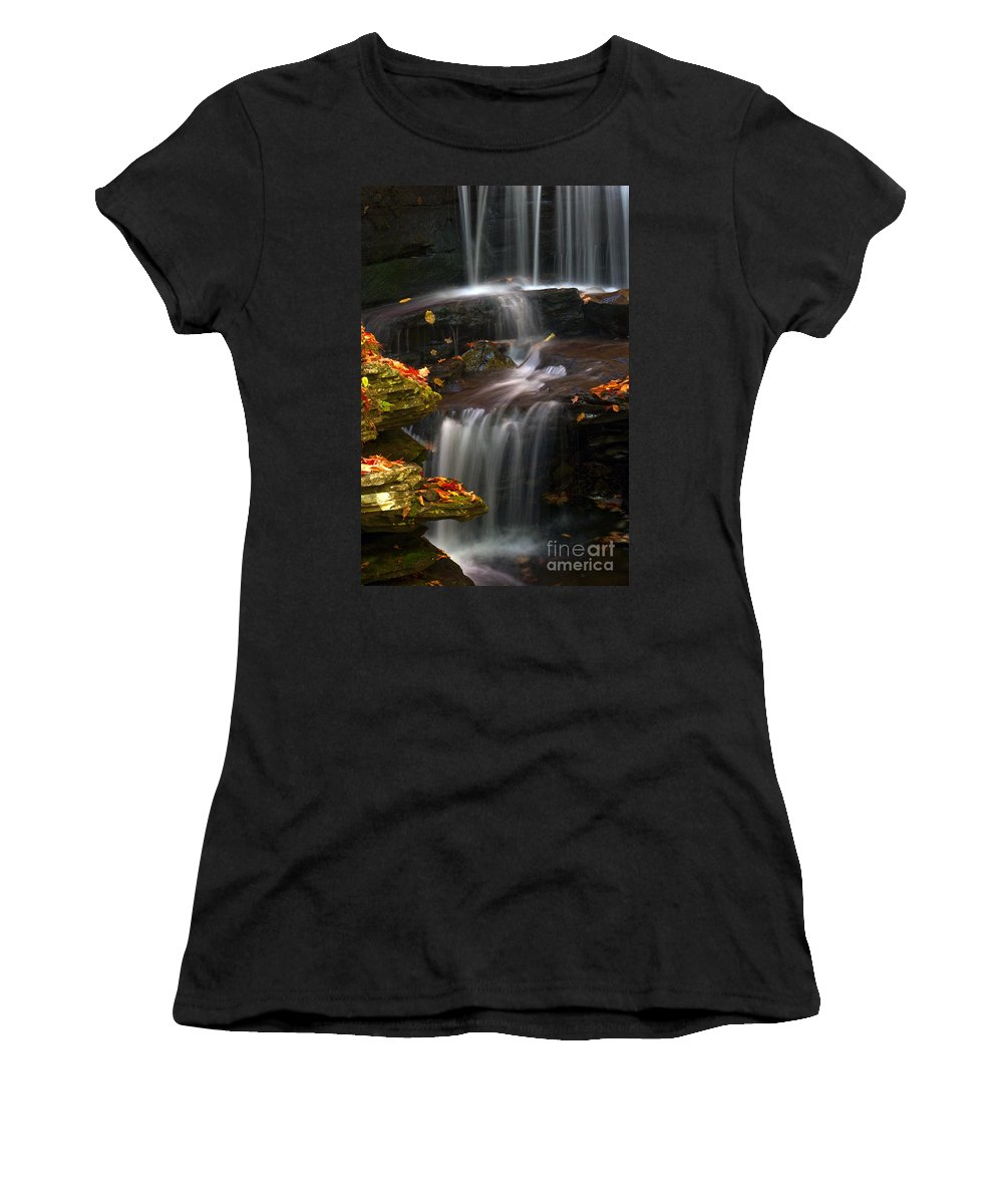 Ricketts Glen Women's T-Shirt featuring the photograph Falls And Fall Leaves by Paul W Faust - Impressions of Light