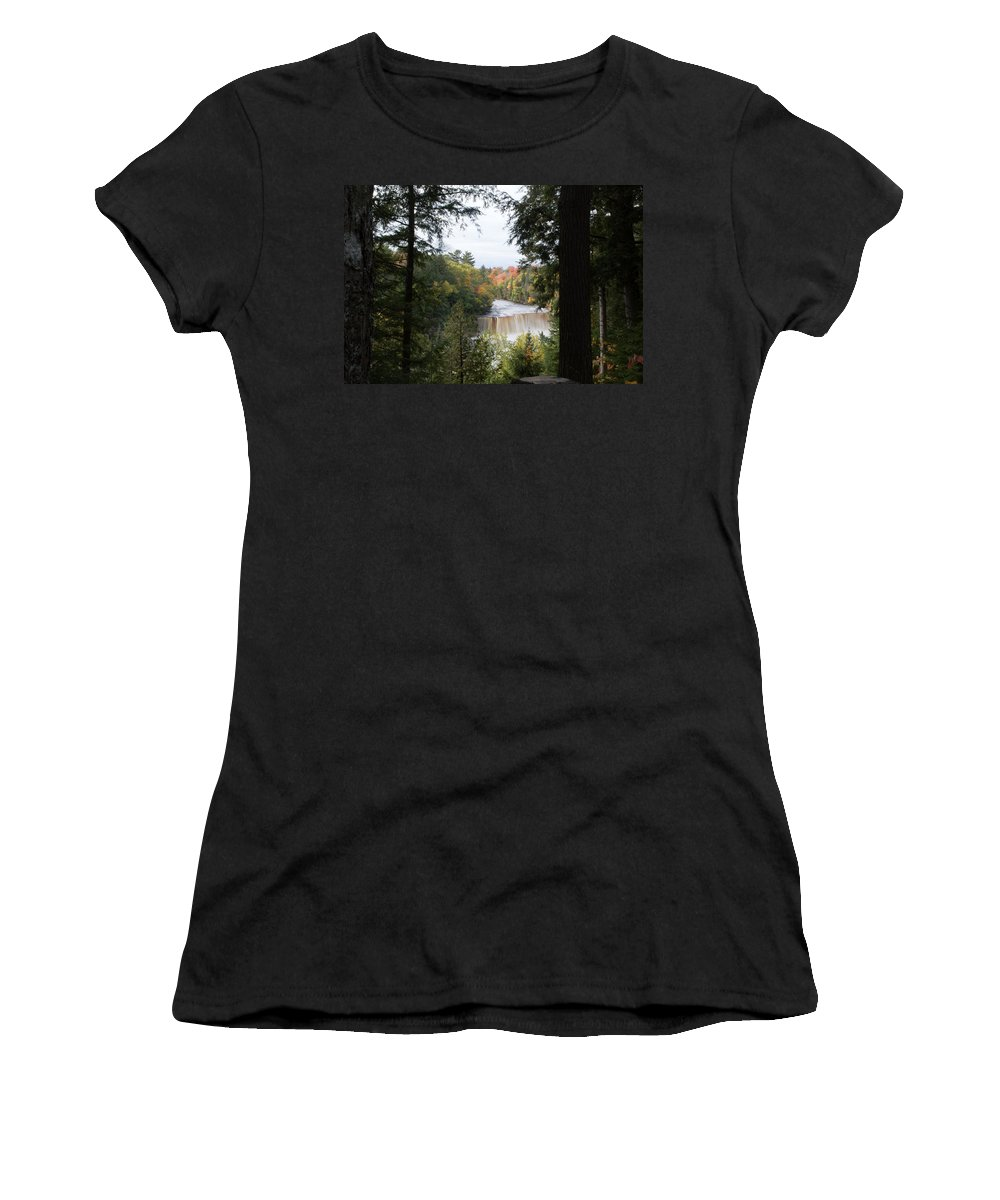 Upper Tahquamenon Falls Women's T-Shirt (Athletic Fit) featuring the photograph Falls In The Distance by Linda Kerkau