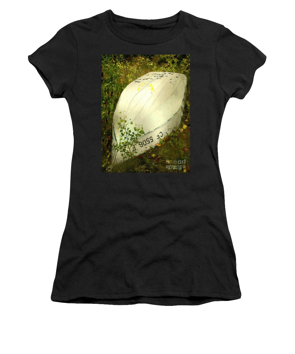 Autumn Women's T-Shirt (Athletic Fit) featuring the painting Far From Home by RC DeWinter