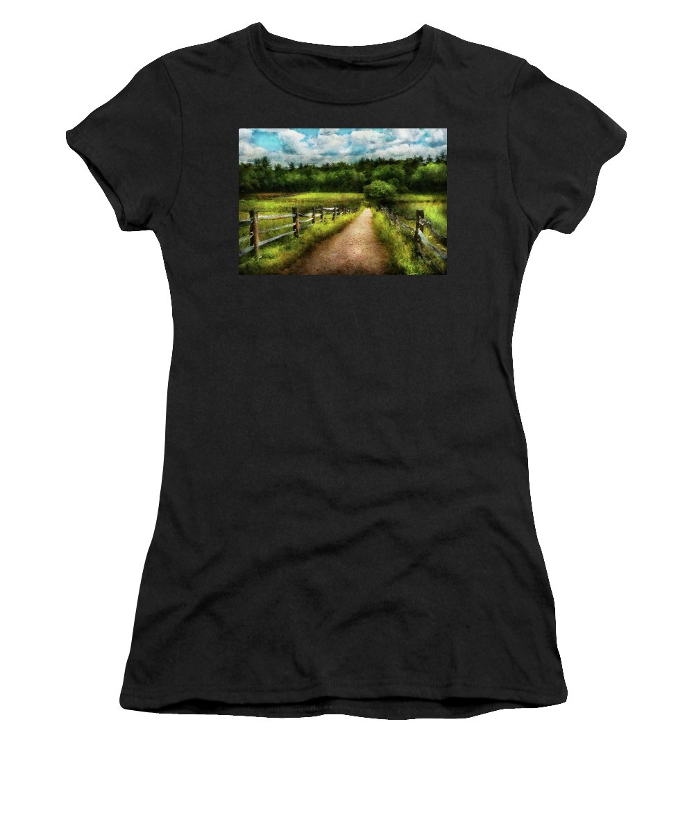 Suburbanscenes Women's T-Shirt featuring the photograph Farm - Fence - Every Journey Starts With A Path by Mike Savad