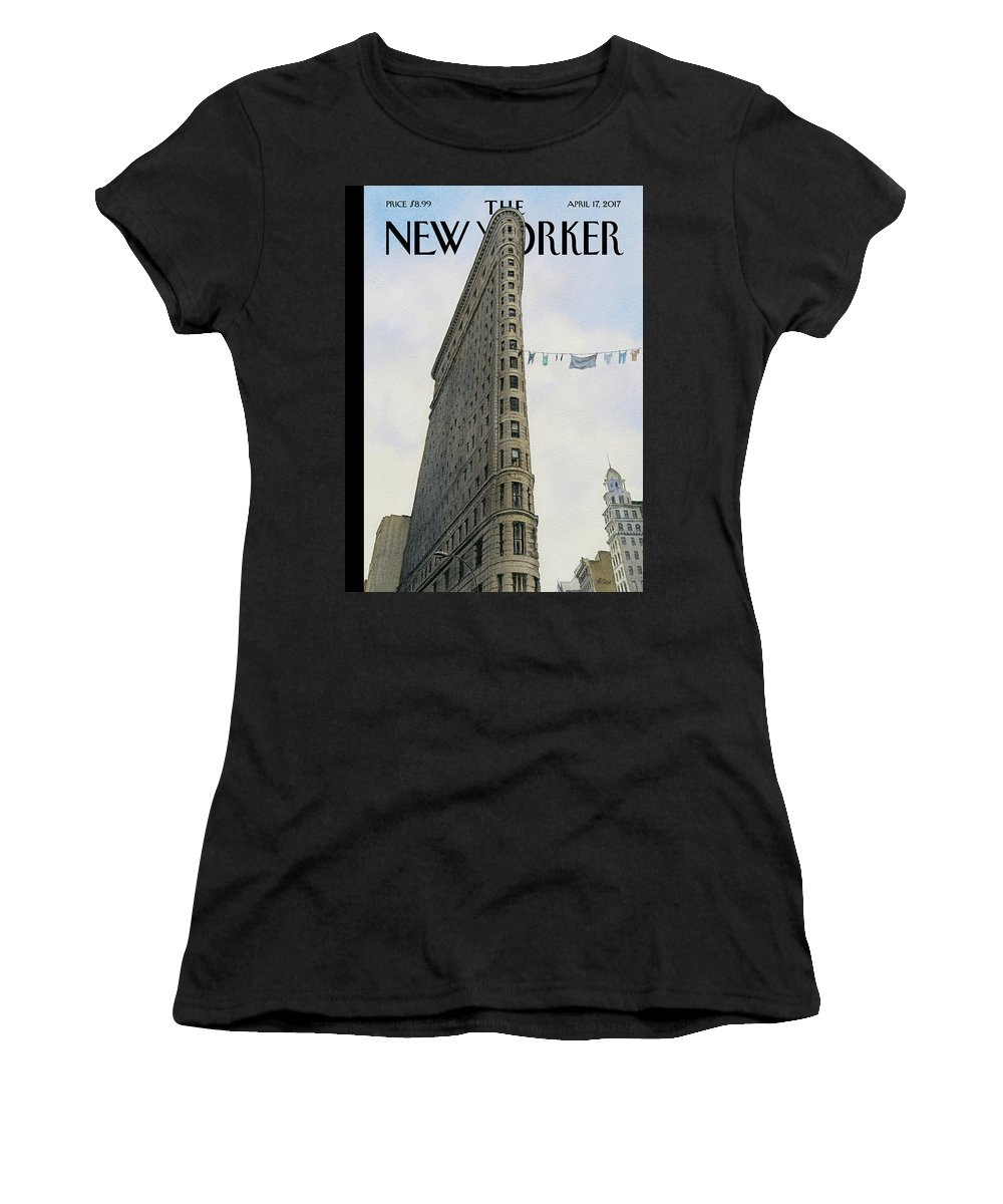 Fashion District Women's T-Shirt featuring the painting Fashion District by Harry Bliss