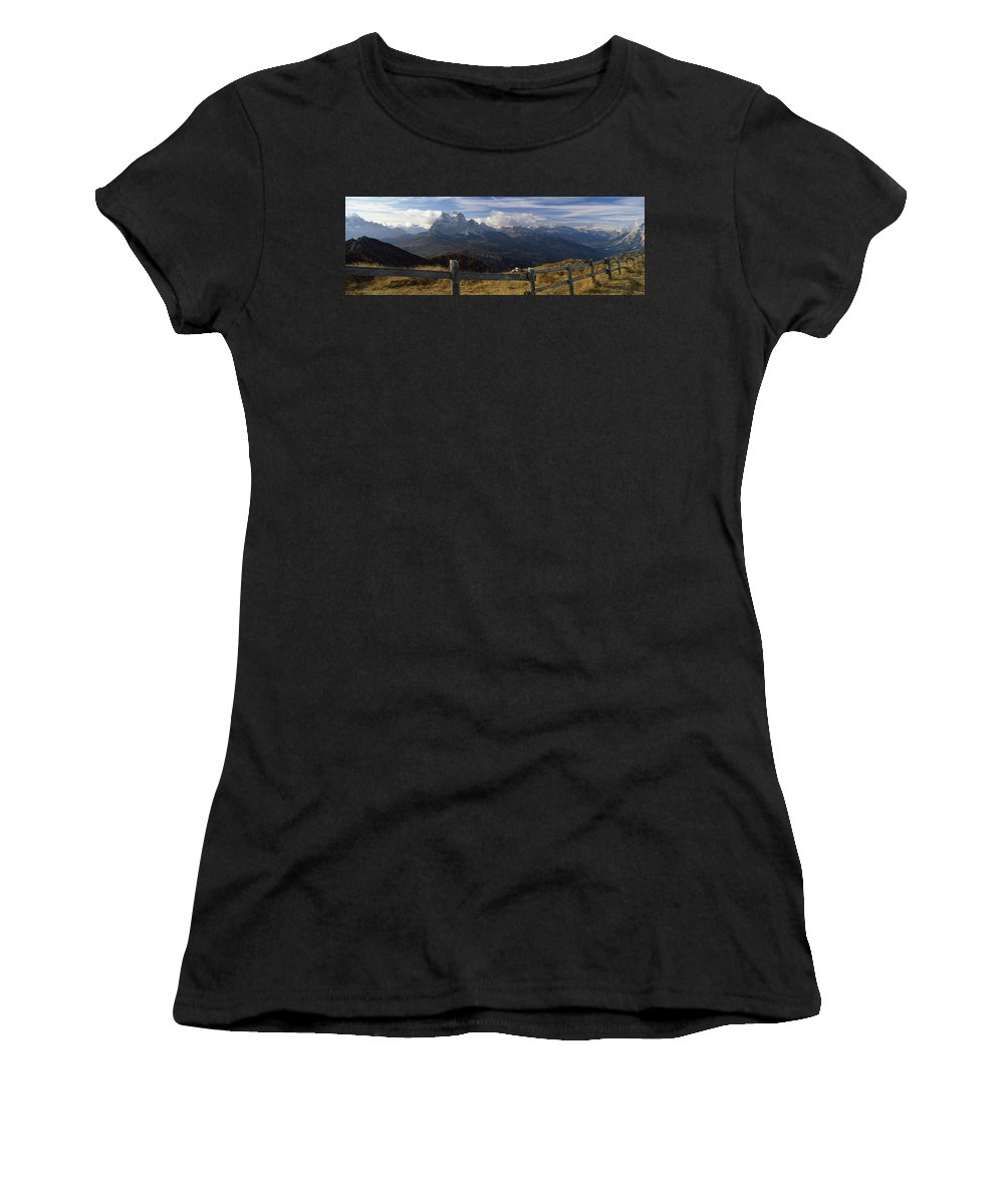 Photography Women's T-Shirt featuring the photograph Fence With A Mountain Range by Panoramic Images