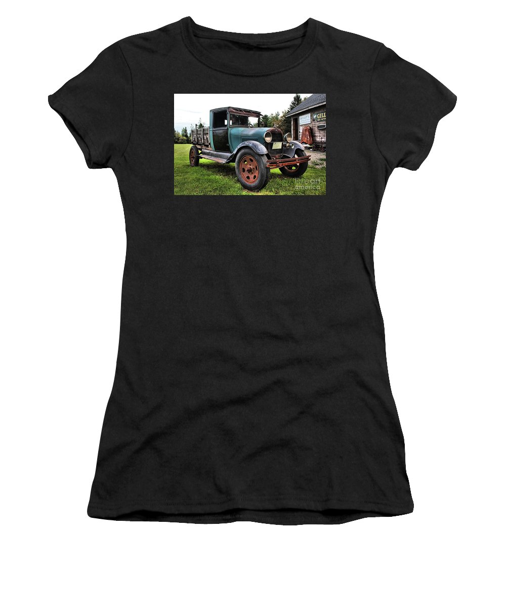 Ferland's Service Station Women's T-Shirt (Athletic Fit) featuring the photograph Ferland's_1154 by Joseph Marquis