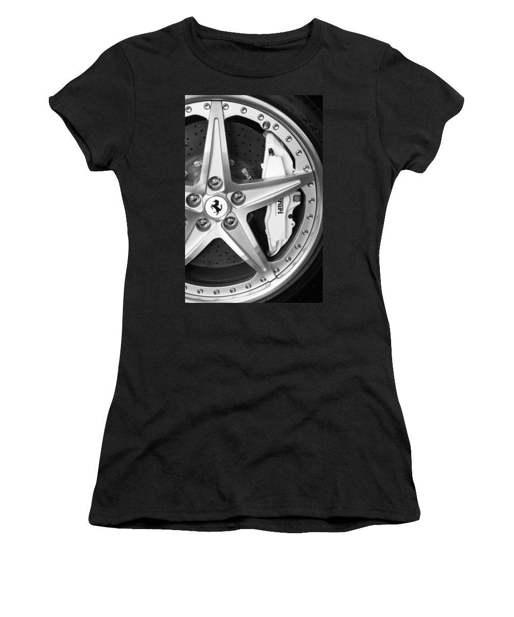 Ferrari Wheel Emblem Women's T-Shirt featuring the photograph Ferrari Wheel Emblem by Jill Reger