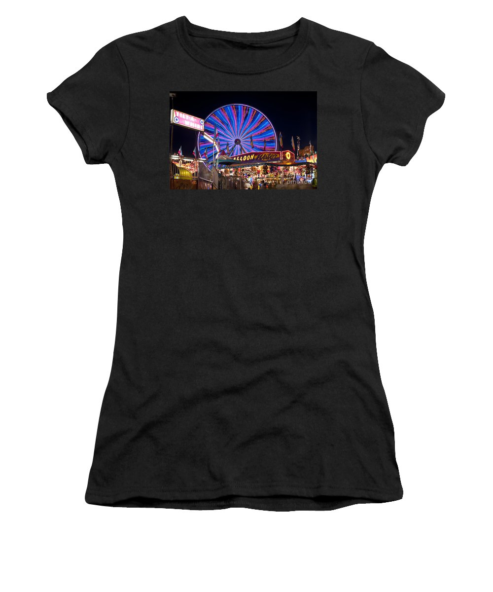 Americana Women's T-Shirt featuring the photograph Ferris Wheel Rides And Games by Jim Corwin