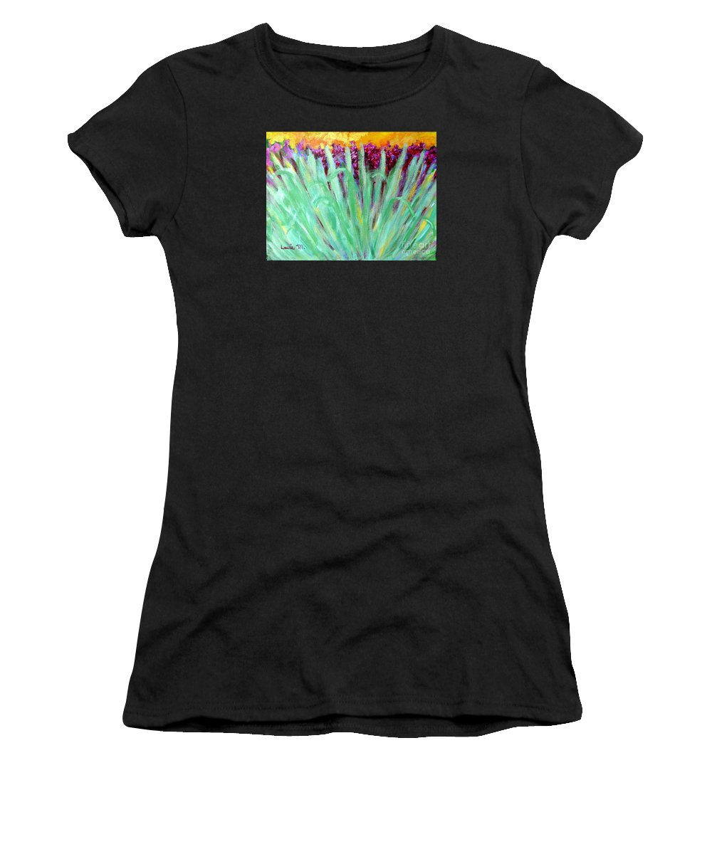 Abstract Women's T-Shirt (Athletic Fit) featuring the painting Festoon by Laurie Morgan