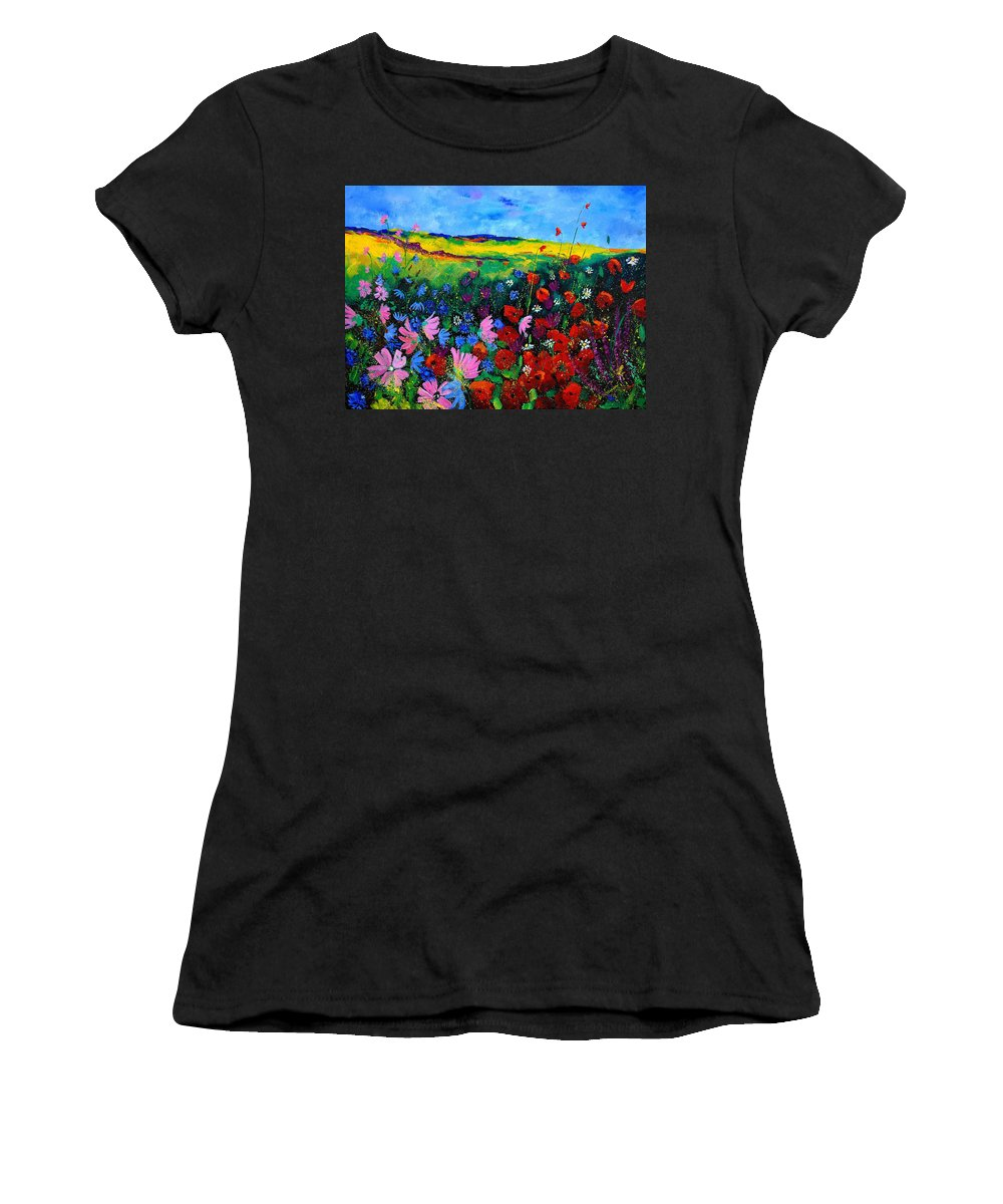 Poppies Women's T-Shirt (Athletic Fit) featuring the painting Field Flowers by Pol Ledent
