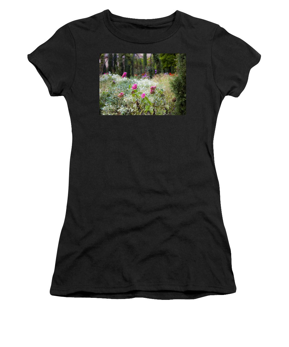 Flowers Women's T-Shirt (Athletic Fit) featuring the photograph Field Of Flowers On A Rainy Day by Madeline Ellis