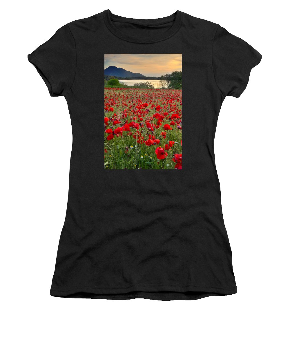 Poppies Women's T-Shirt (Athletic Fit) featuring the photograph Field Of Poppies At The Lake by Guido Montanes Castillo