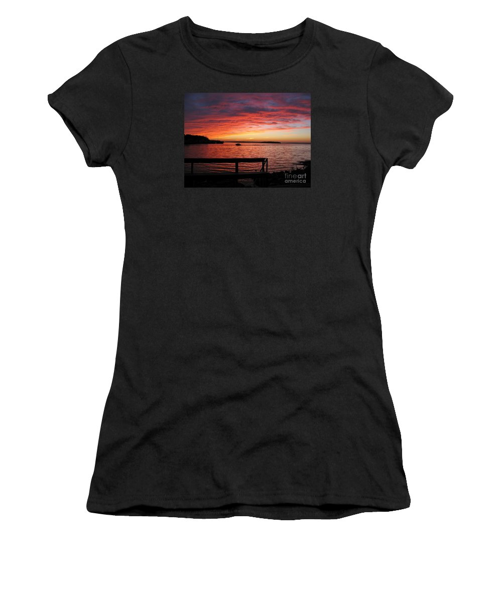 Sunset Women's T-Shirt (Athletic Fit) featuring the photograph Fiery Afterglow by Ann Horn