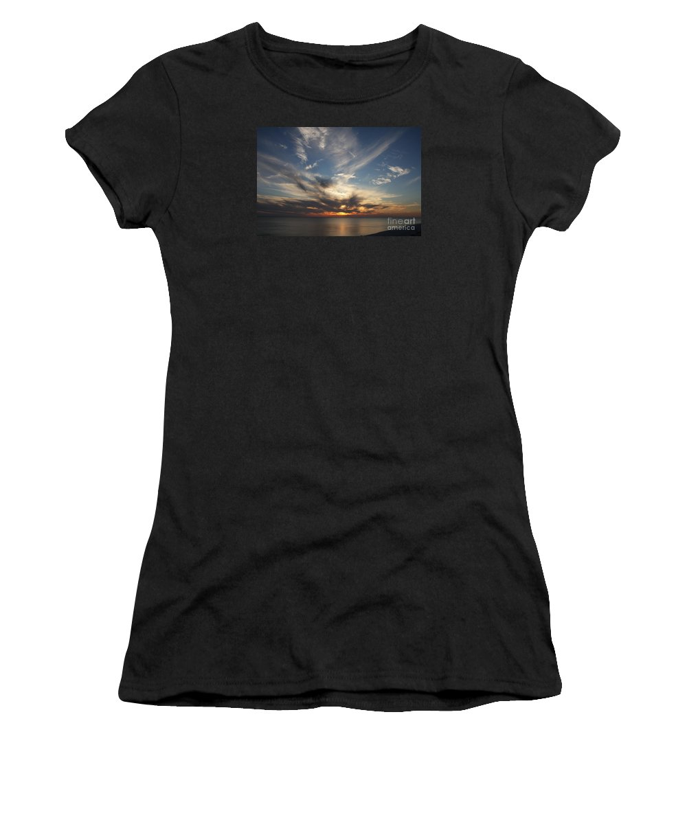 Sunset Women's T-Shirt featuring the photograph Fiery Sunset Skys by Christiane Schulze Art And Photography
