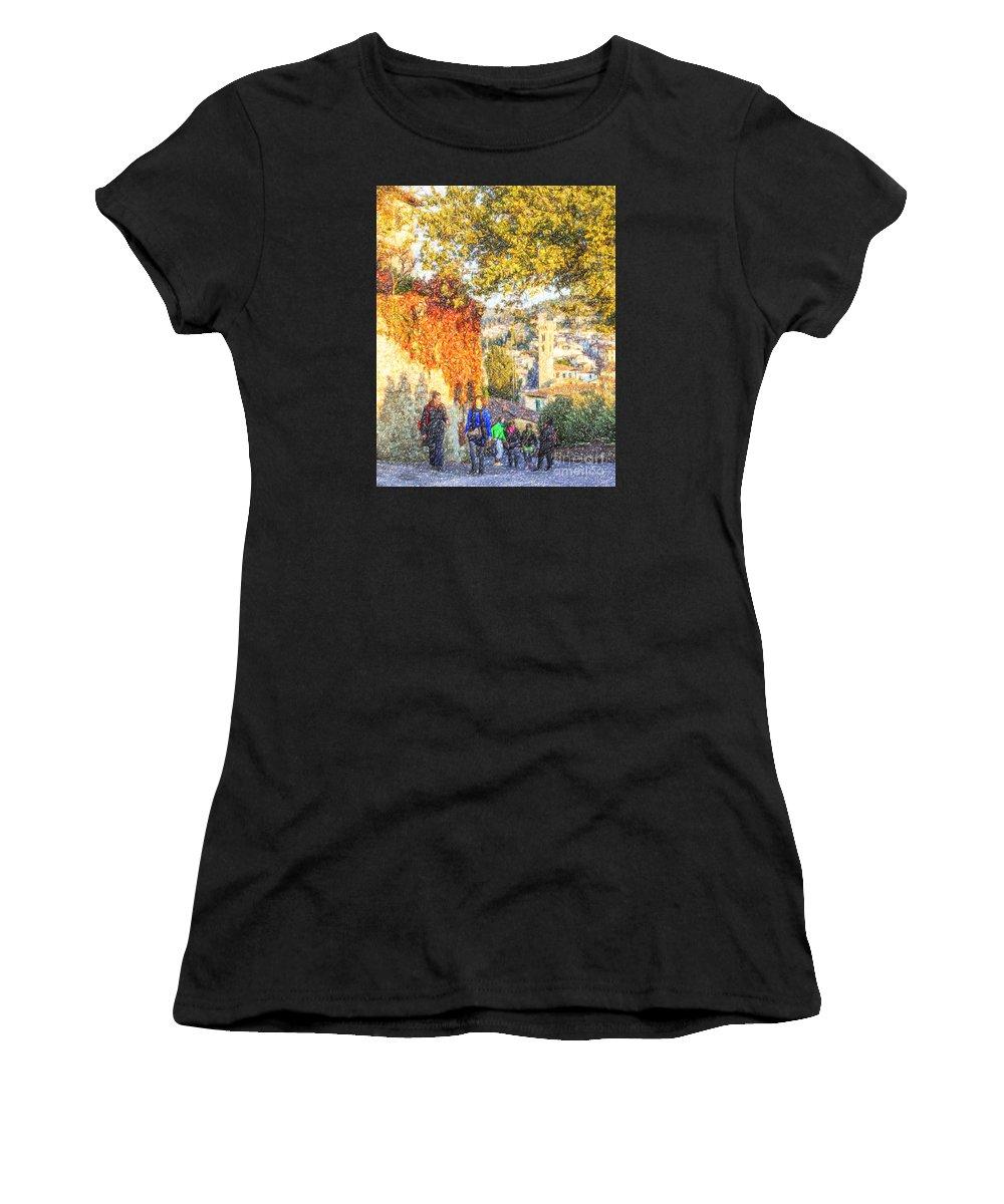 Fiesole Women's T-Shirt featuring the digital art Fiesole by Liz Leyden