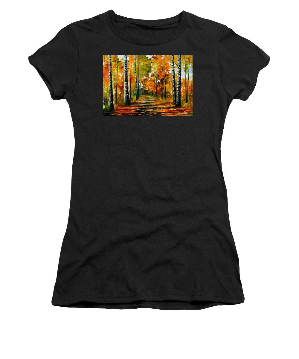 Oil Paintings Women's T-Shirt (Athletic Fit) featuring the painting Fiesta Of Birches - Palette Knife Oil Painting On Canvas By Leonid Afremov by Leonid Afremov