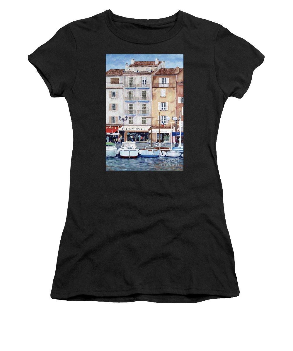 St. Tropez Women's T-Shirt (Athletic Fit) featuring the painting Filles Du Soleil by Danielle Perry
