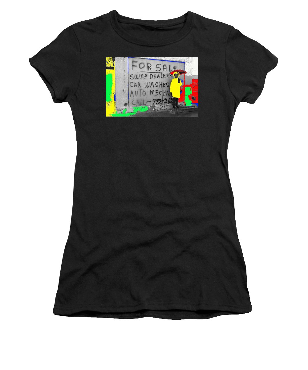 Film Homage Warren Beatty Dick Tracy 1990 Bystander Rodeo Parade Tucson Arizona 1983 Color Added Women's T-Shirt featuring the photograph Film Homage Warren Beatty Dick Tracy 1990 Bystander Rodeo Parade Tucson Arizona 1983-2010 by David Lee Guss