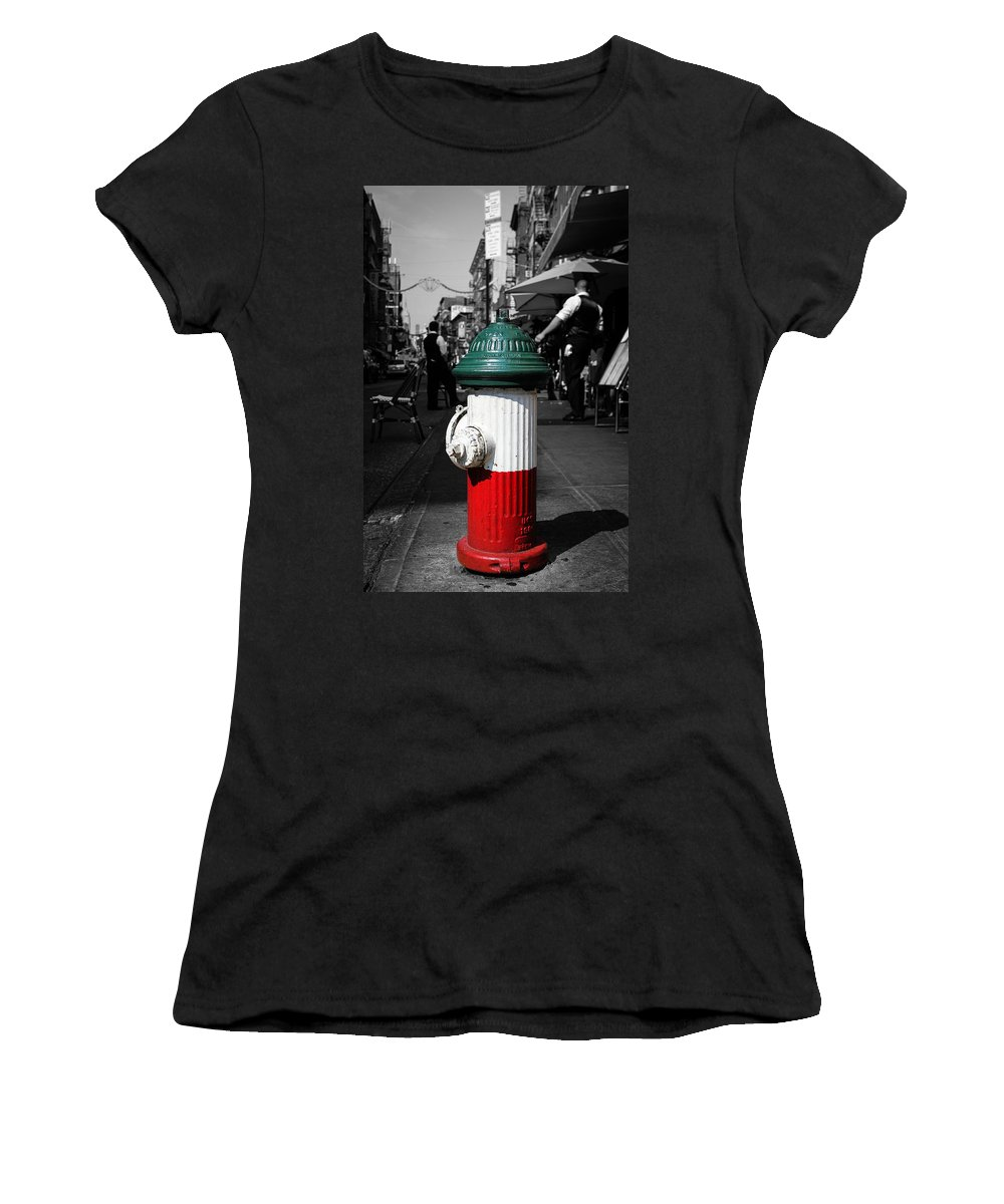 Fire Hydrant Women's T-Shirt (Athletic Fit) featuring the photograph Fire Hydrant From Little Italy by Sam Garcia