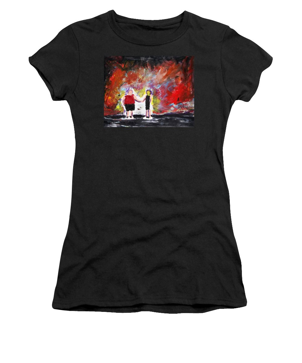 Sky Women's T-Shirt (Athletic Fit) featuring the painting Fire In The Sky by J Nell Bliss