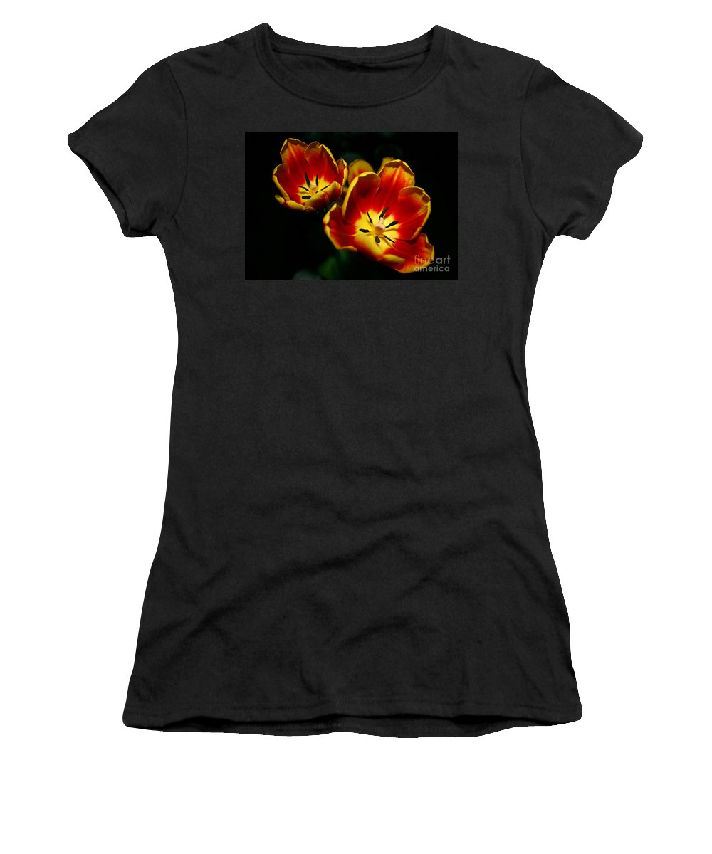 Flowers Women's T-Shirt featuring the photograph Fire Tulip Flowers by Nikki Vig