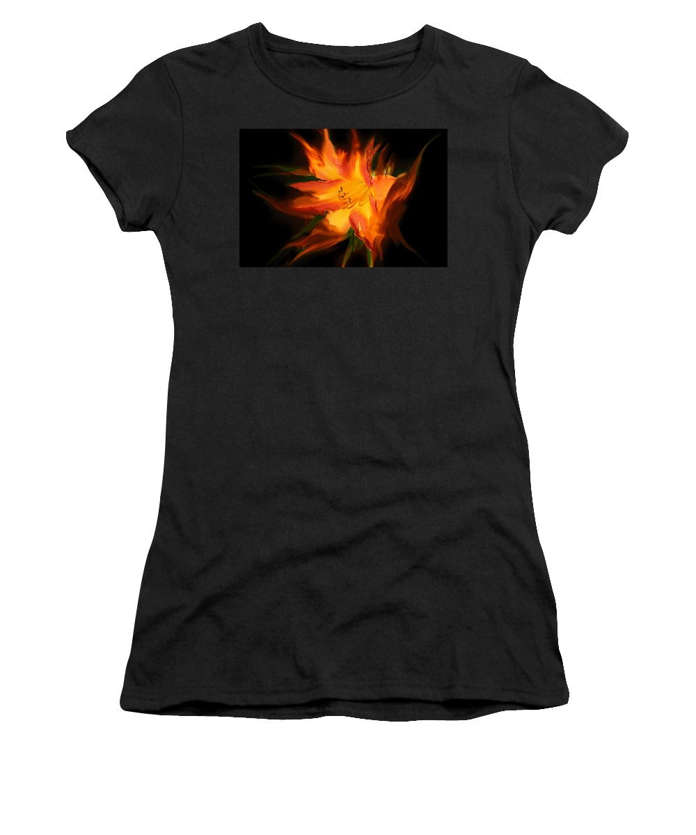 Lily Women's T-Shirt (Athletic Fit) featuring the digital art Firelily by Lisa Yount