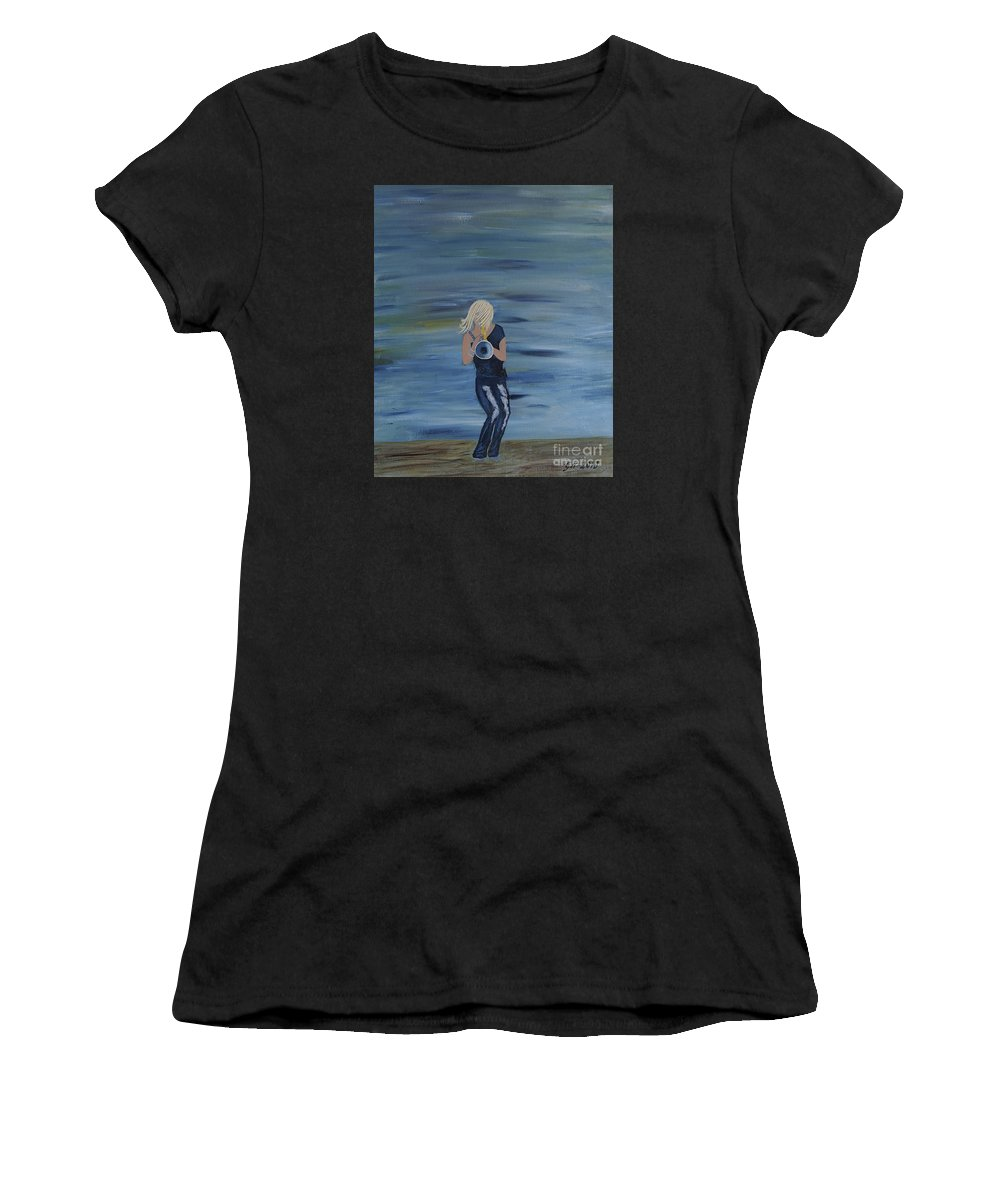 Cindy Bradley Women's T-Shirt (Athletic Fit) featuring the painting Firmly Grounded - Cindy Bradley by Goran Nilsson