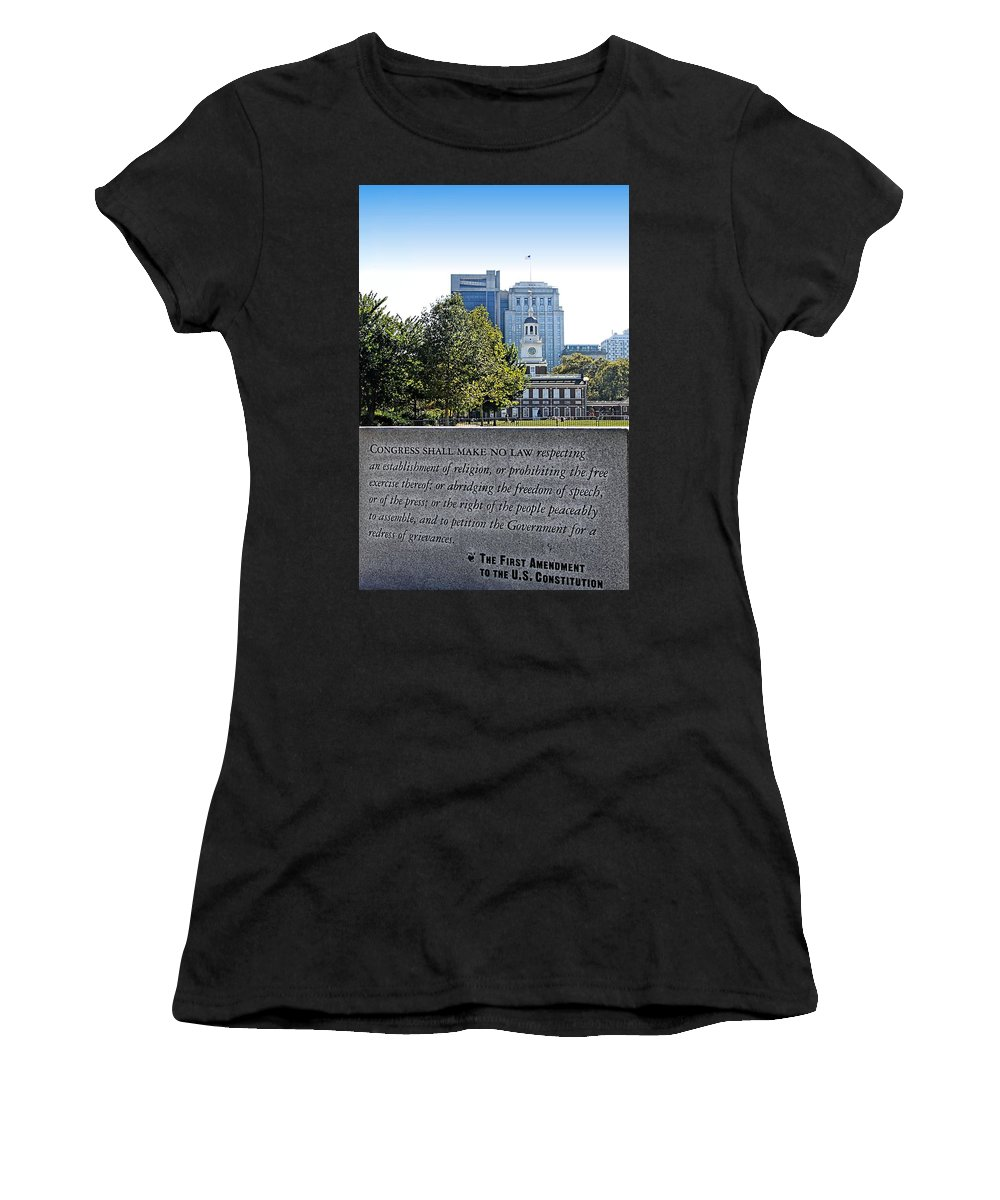 Philly Women's T-Shirt (Athletic Fit) featuring the photograph First Amendment by DJ Florek