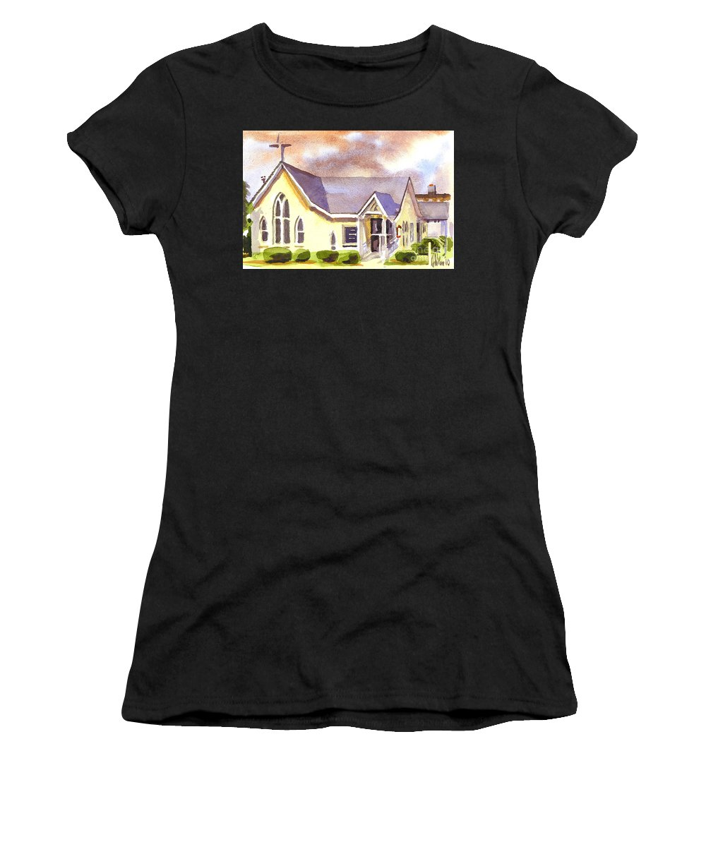 First Presbyterian Church Ironton Missouri Women's T-Shirt (Athletic Fit) featuring the painting First Presbyterian Church Ironton Missouri by Kip DeVore