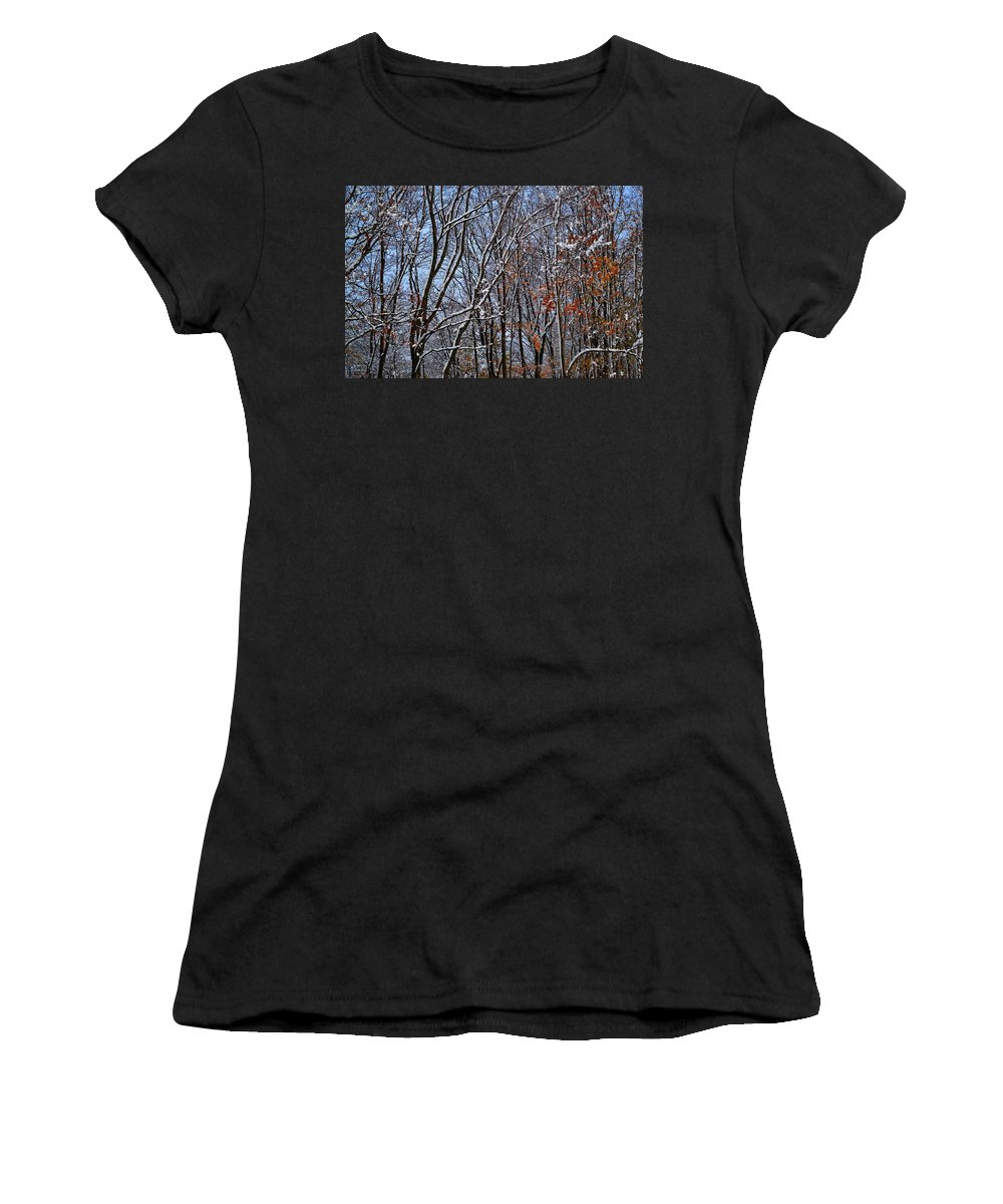 Snow Women's T-Shirt (Athletic Fit) featuring the photograph First Snow 4 by April Patterson