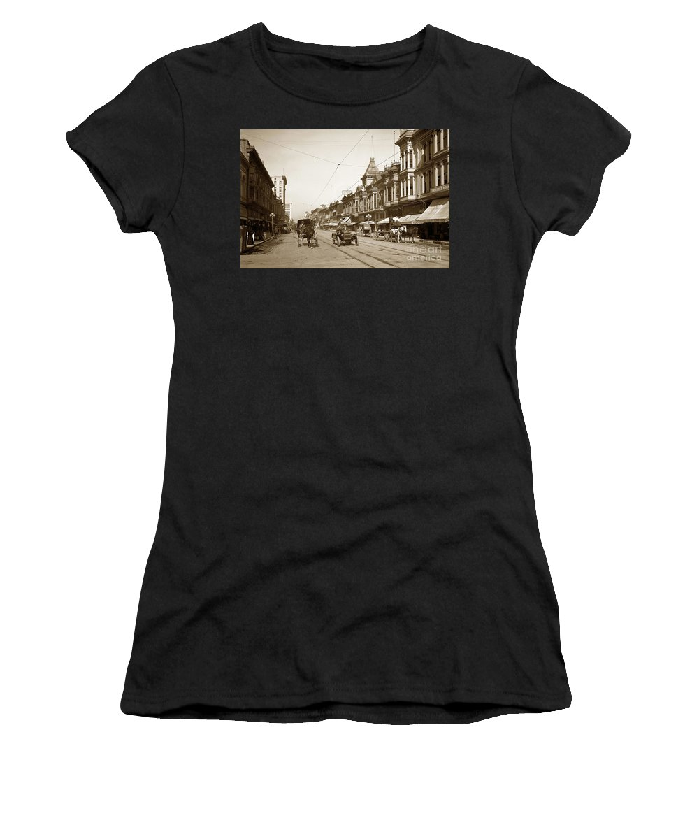 First Street Women's T-Shirt (Athletic Fit) featuring the photograph First Street Downtown San Jose California Circa 1905 by California Views Archives Mr Pat Hathaway Archives