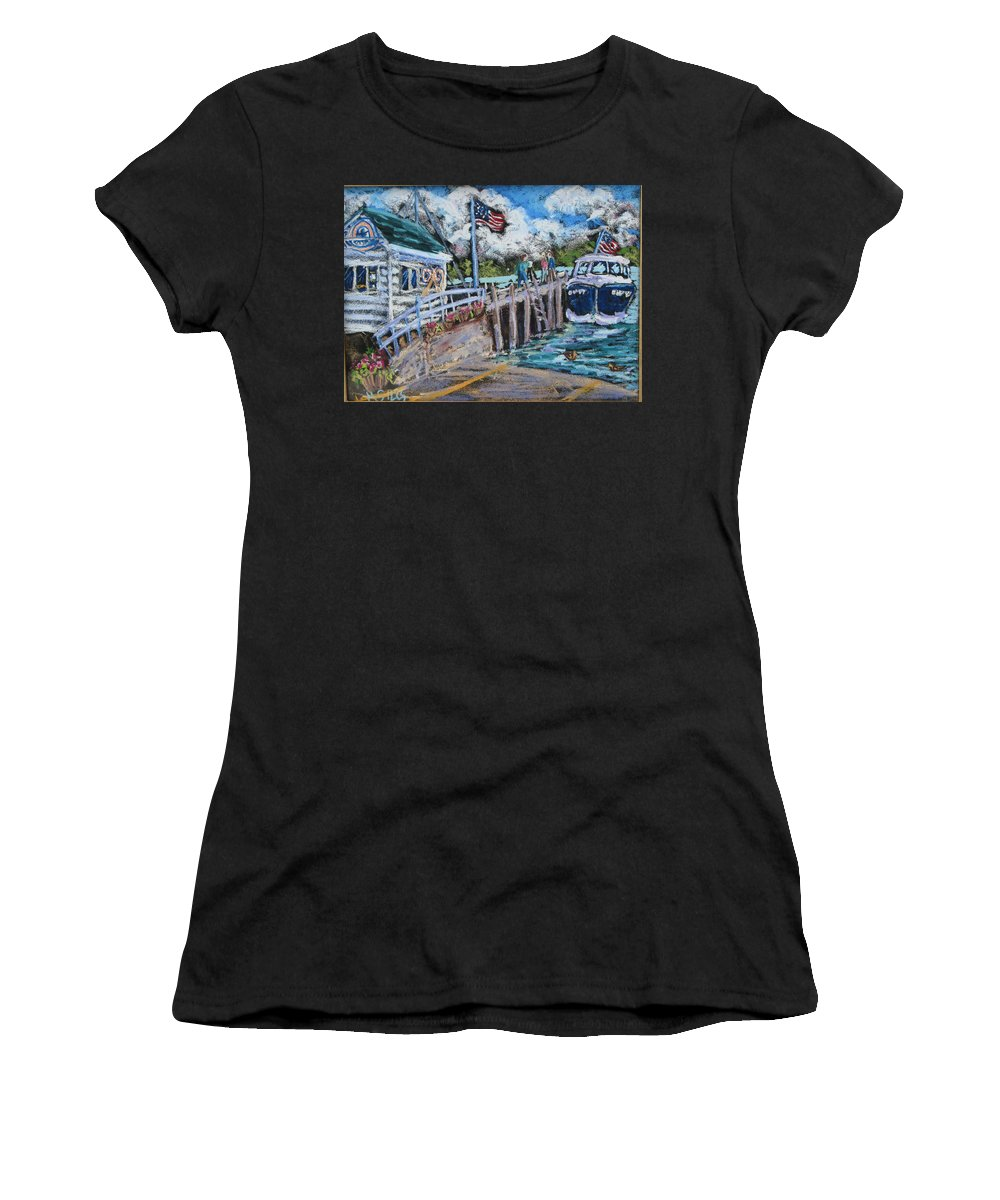 Door County Women's T-Shirt featuring the painting Fish Creek Boat Launch by Madonna Siles