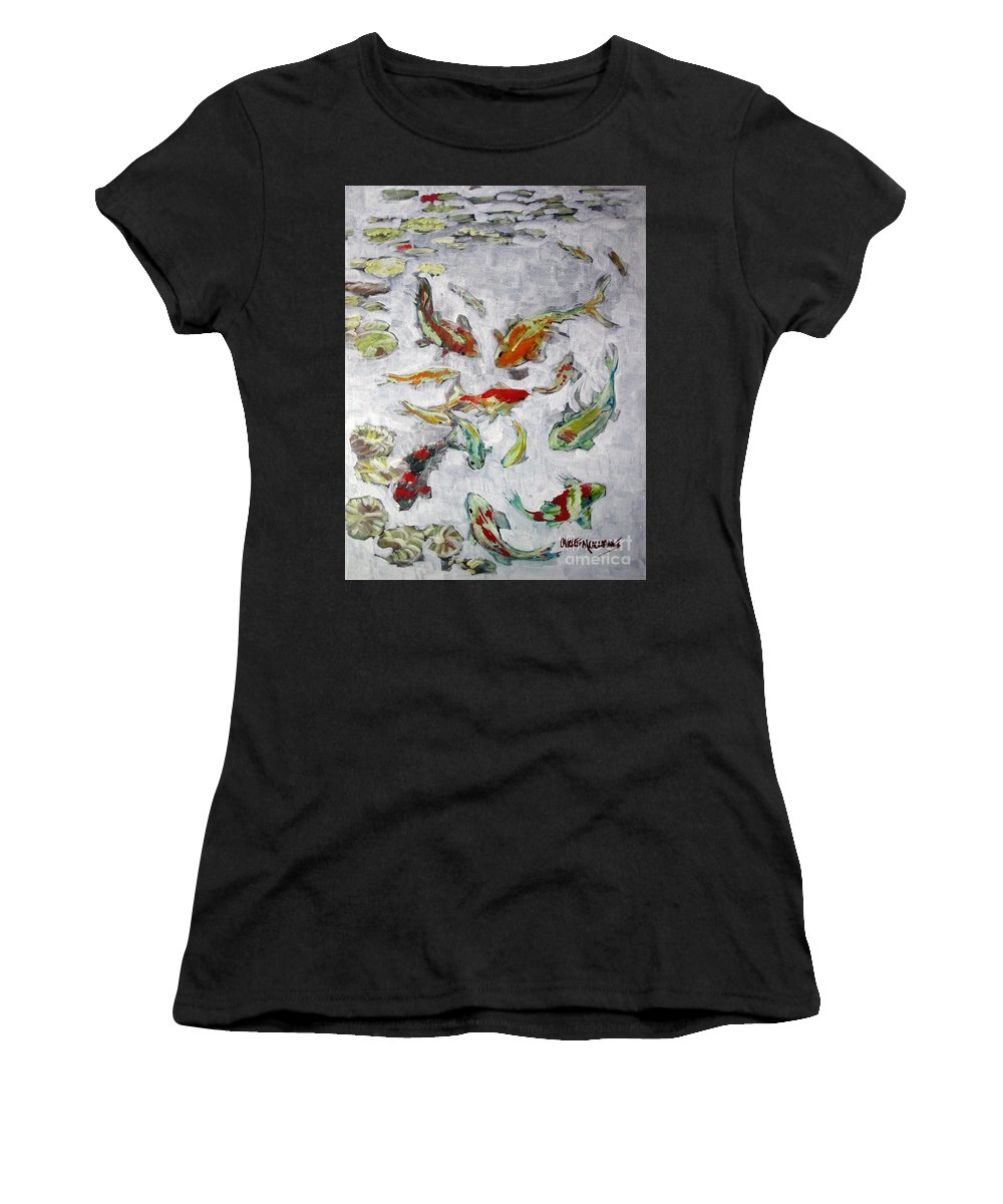 Goldfish Women's T-Shirt featuring the painting Fish Pond V2 by Charles M Williams