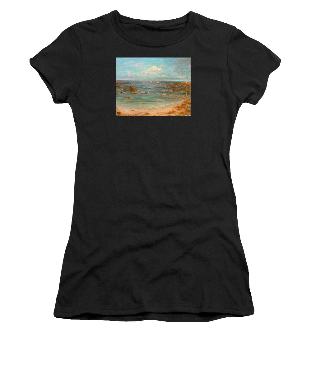 Fishing Boats Women's T-Shirt featuring the painting Fisher's Of Men by Robert Wright