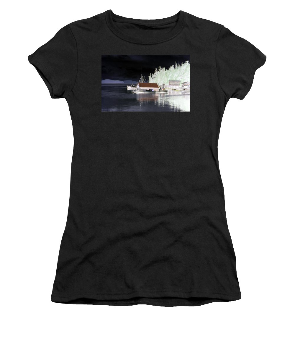 Alaska Women's T-Shirt featuring the photograph Fishing Boat Dock - Ketchican - Alaska - Photopower 01 by Pamela Critchlow