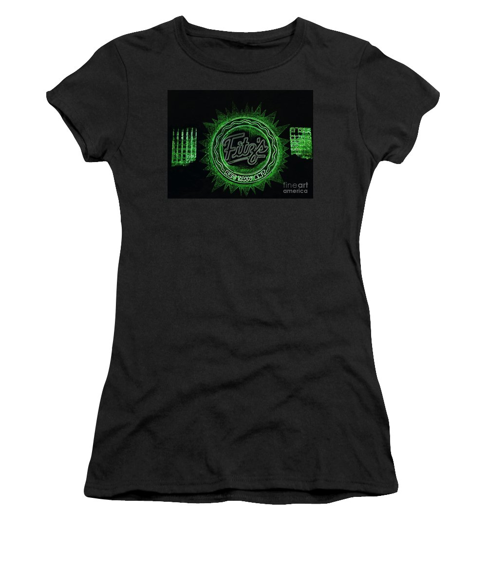 Women's T-Shirt (Athletic Fit) featuring the photograph Fitz's In Green Neon by Kelly Awad