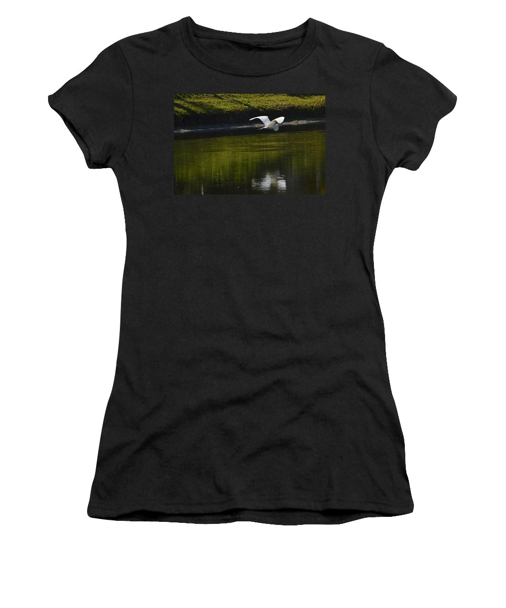 Pond Women's T-Shirt (Athletic Fit) featuring the photograph Flight Over Pond by Linda Kerkau
