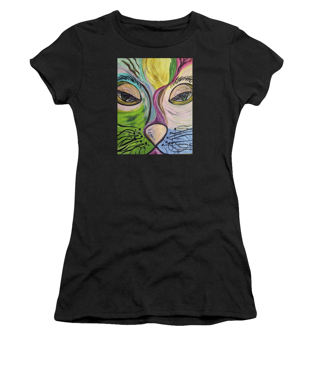 Cute Women's T-Shirt featuring the painting Flirty Feline ... Cat Eyes by Eloise Schneider Mote