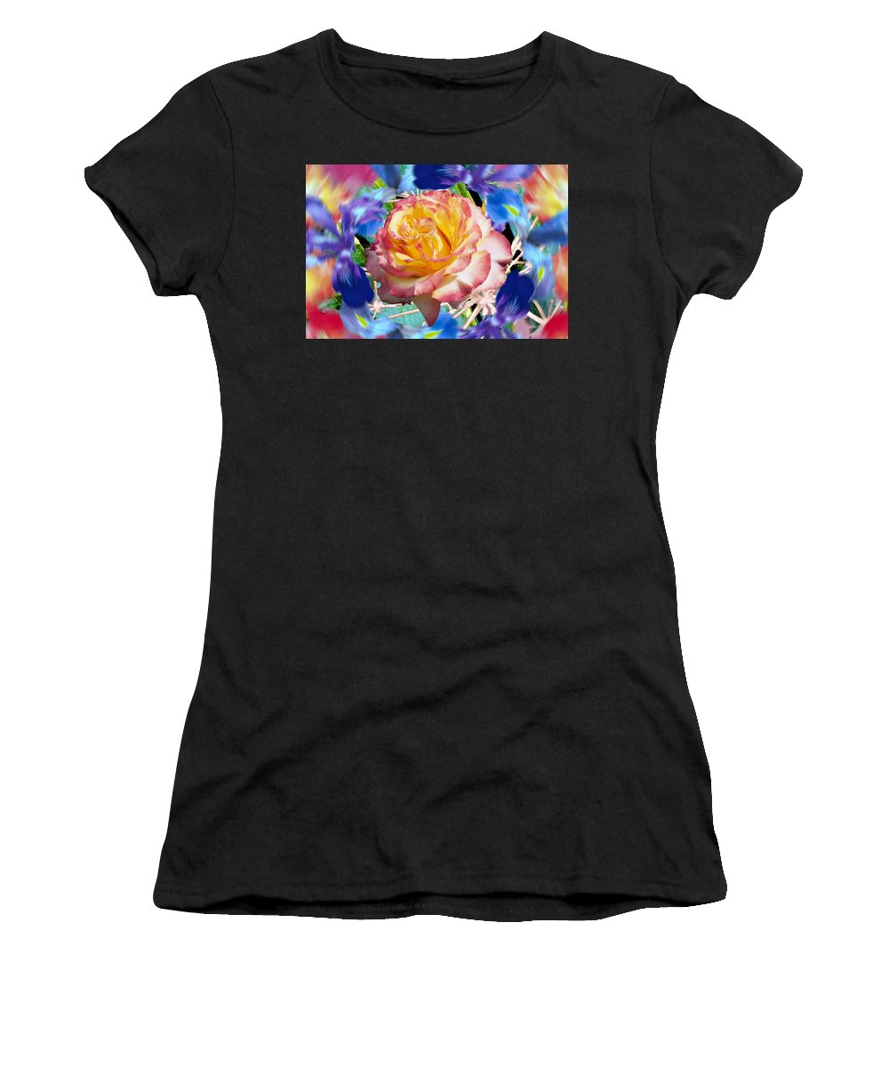 Flowers Women's T-Shirt (Athletic Fit) featuring the digital art Flower Dance 2 by Lisa Yount