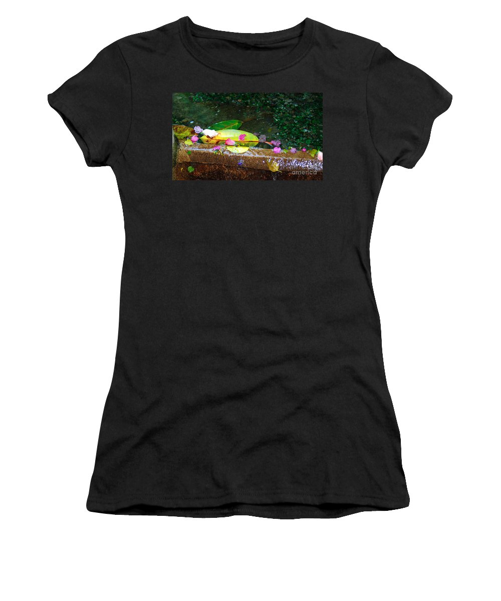 Red Flower Petals Women's T-Shirt featuring the photograph Flower Petals And Leaves by Optical Playground By MP Ray