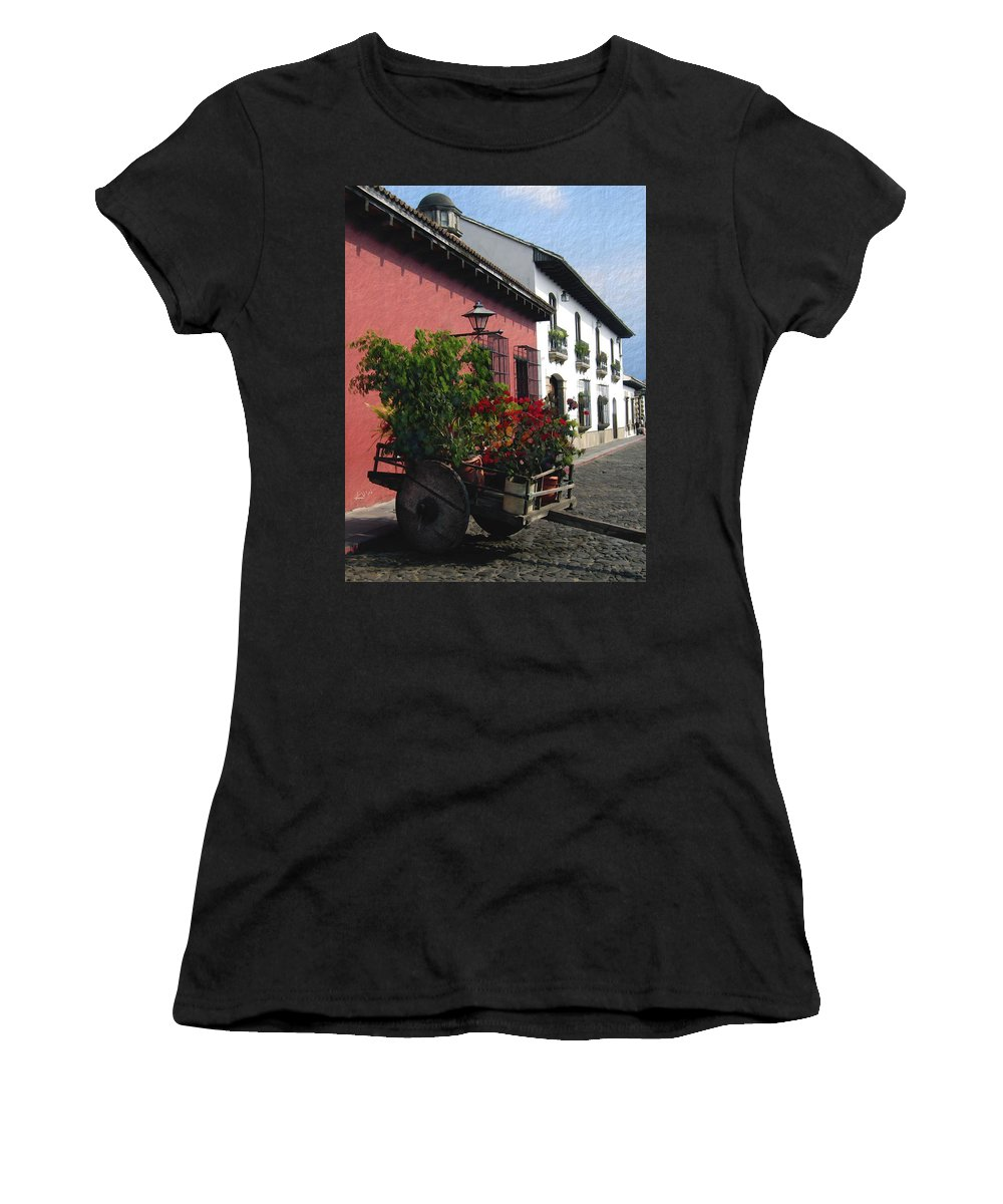 Guatemala Women's T-Shirt (Athletic Fit) featuring the photograph Flower Wagon Antigua Guatemala by Kurt Van Wagner