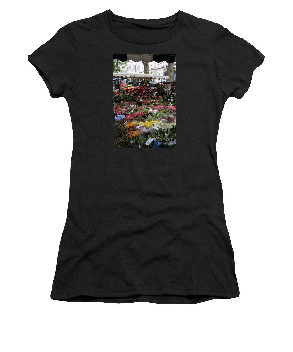 Flowermarket Women's T-Shirt featuring the photograph Flowermarket - Tours by Christiane Schulze Art And Photography