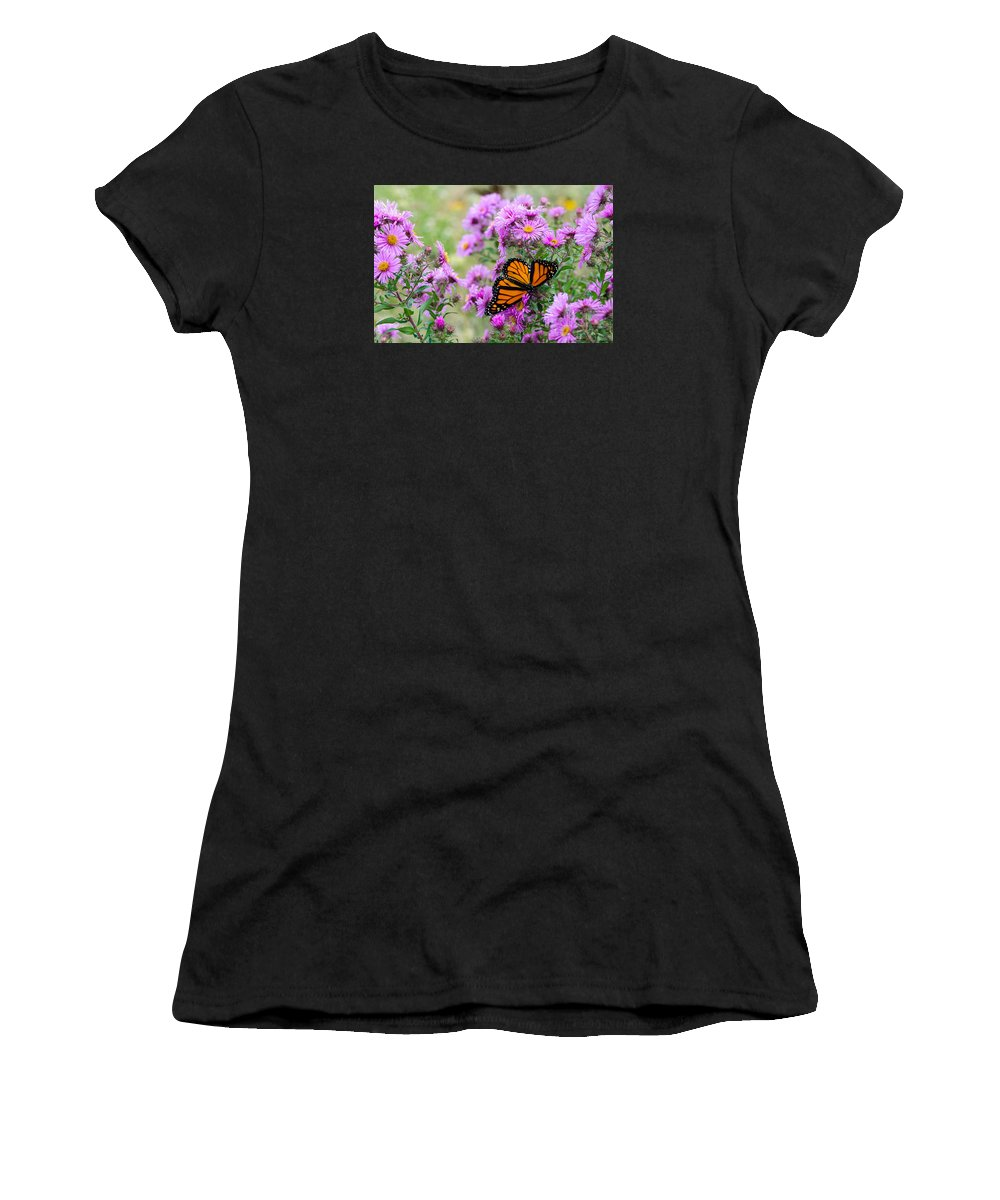 Monarch Women's T-Shirt featuring the photograph Flowers And Butterfly by Susan McMenamin