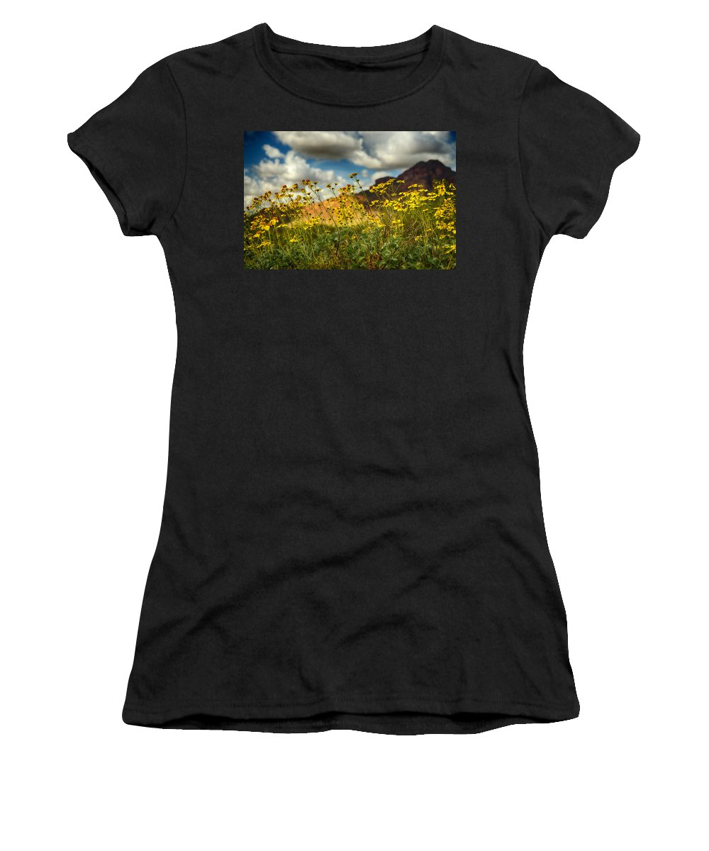 Yellow Brittlebush Women's T-Shirt featuring the photograph Flowers Are Food For The Soul by Saija Lehtonen